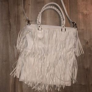 EUC H&M fringe purse off white